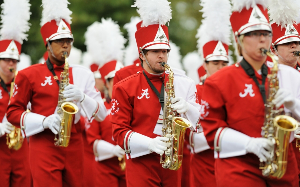 Saxophone section in marching band
